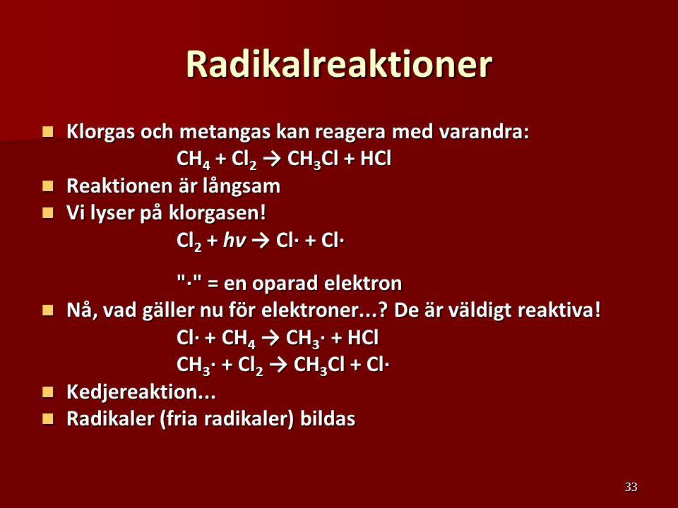 Radikalreaktioner Klorgas och metangas kan reagera med varandra: