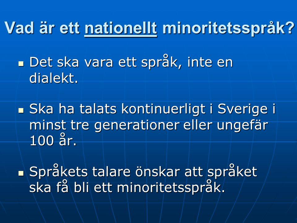 Vad är ett nationellt minoritetsspråk