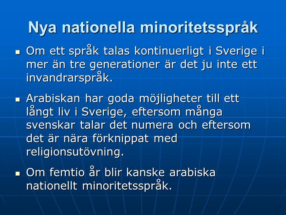 Nya nationella minoritetsspråk