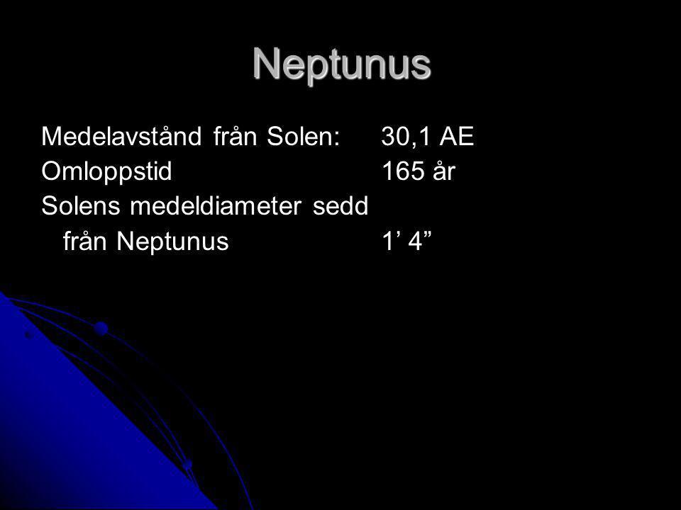 Neptunus Medelavstånd från Solen: 30,1 AE Omloppstid 165 år