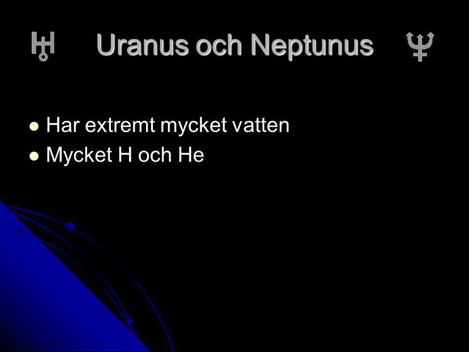 Uranus och Neptunus Har extremt mycket vatten Mycket H och He
