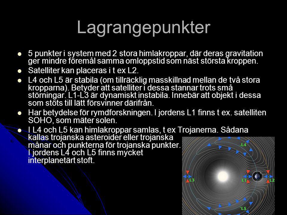 Lagrangepunkter 5 punkter i system med 2 stora himlakroppar, där deras gravitation ger mindre föremål samma omloppstid som näst största kroppen.