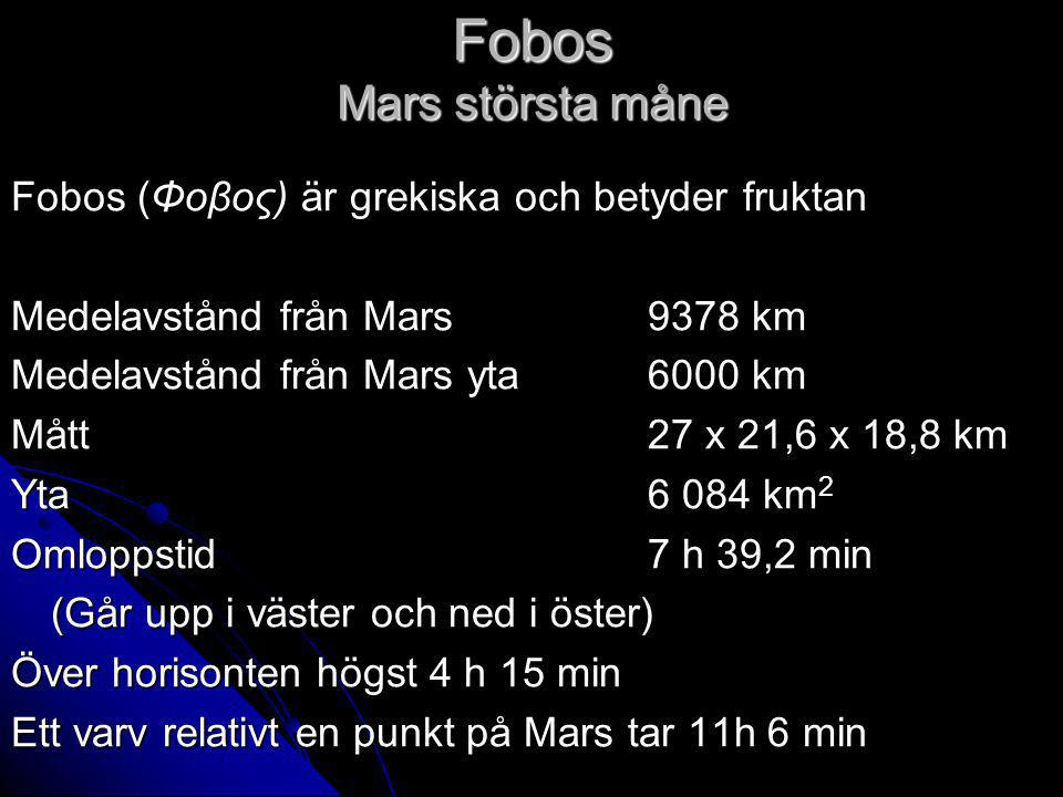 Fobos Mars största måne