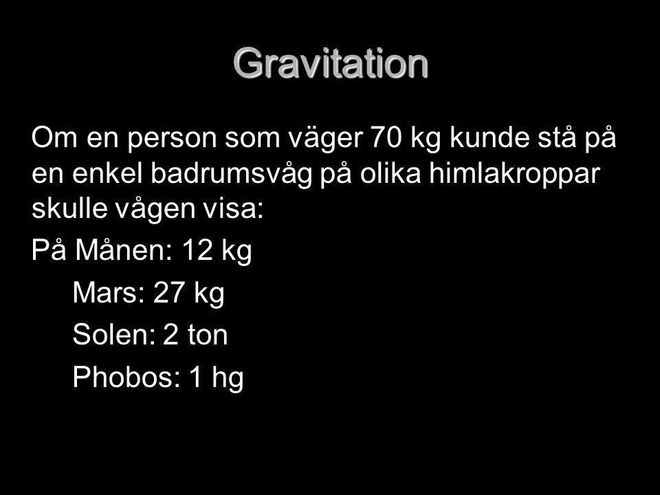 Gravitation Om en person som väger 70 kg kunde stå på en enkel badrumsvåg på olika himlakroppar skulle vågen visa: