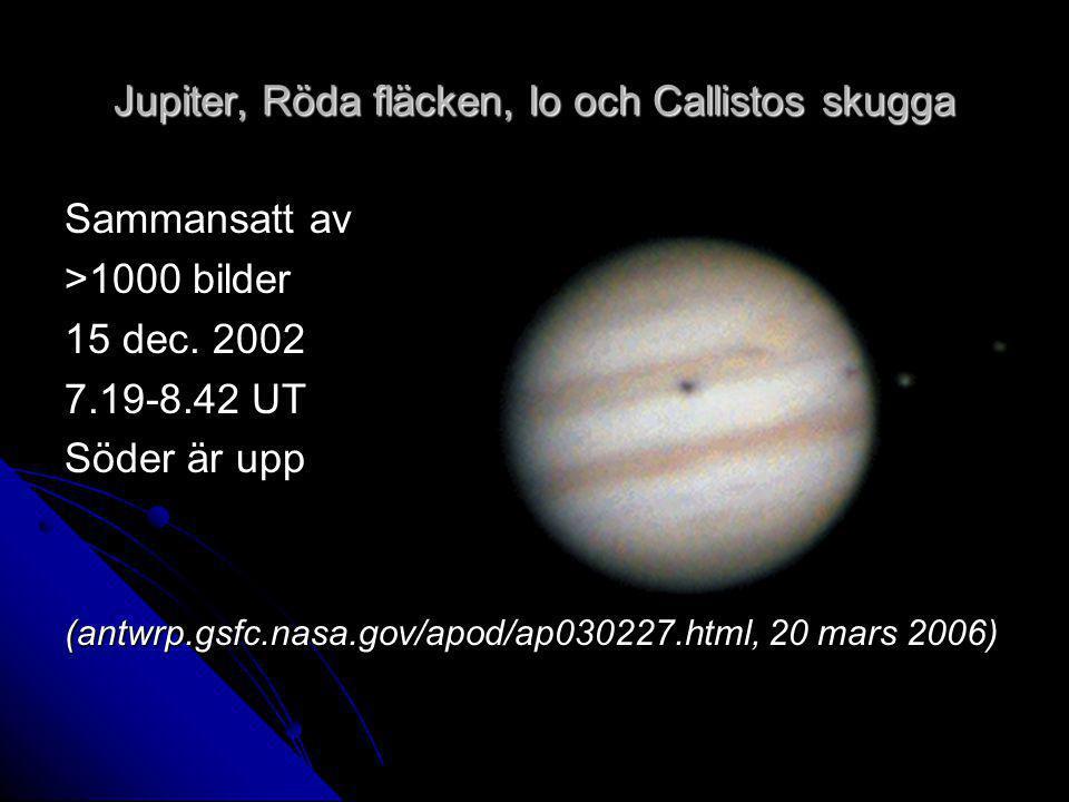 Jupiter, Röda fläcken, Io och Callistos skugga