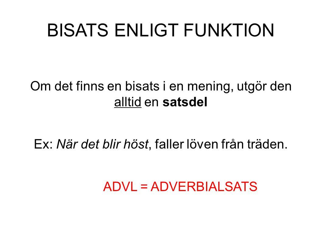 BISATS ENLIGT FUNKTION