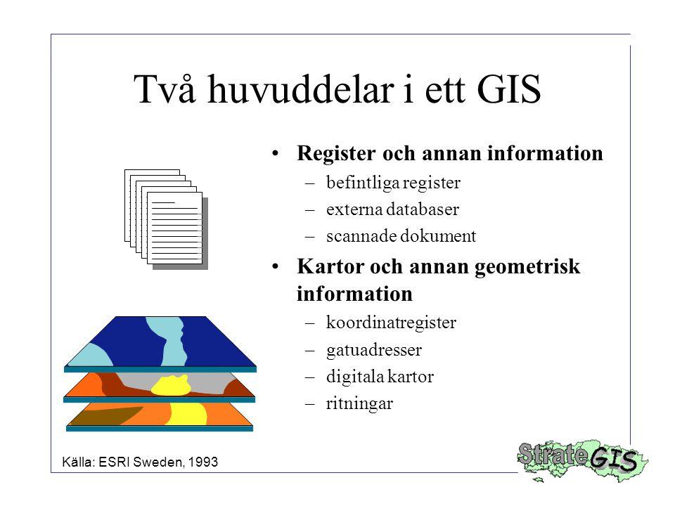 Två huvuddelar i ett GIS