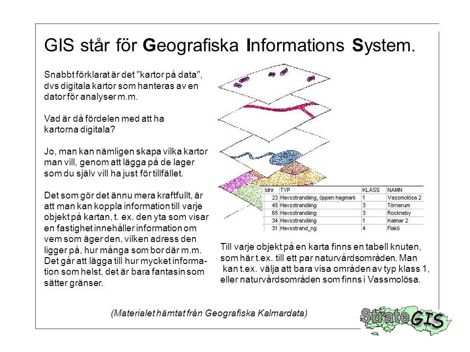 GIS står för Geografiska Informations System.