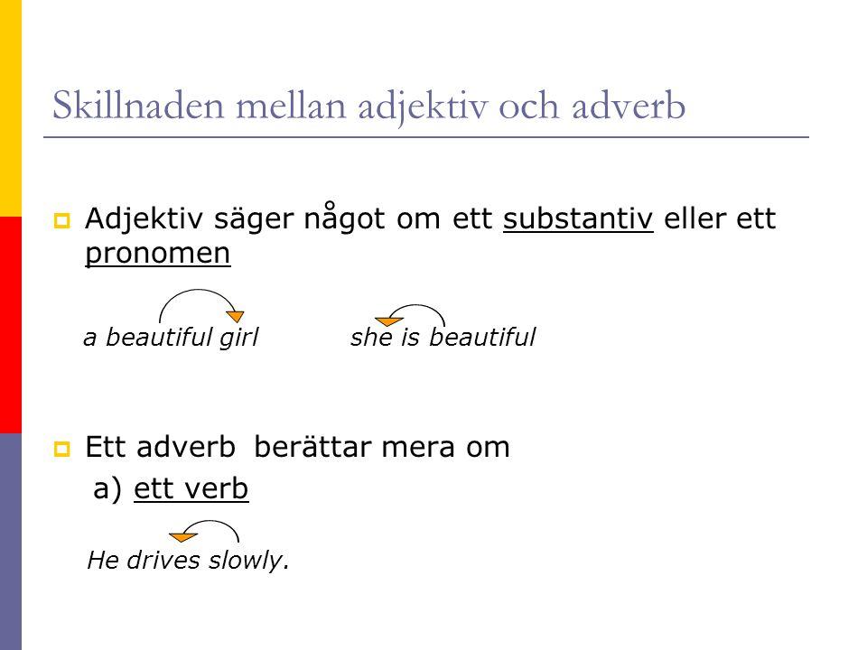 Skillnaden mellan adjektiv och adverb