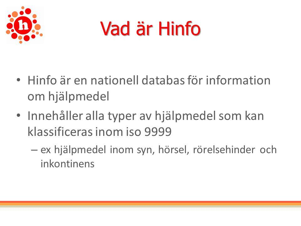 Vad är Hinfo Hinfo är en nationell databas för information om hjälpmedel. Innehåller alla typer av hjälpmedel som kan klassificeras inom iso 9999.