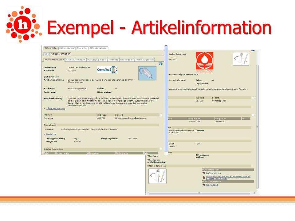 Exempel - Artikelinformation