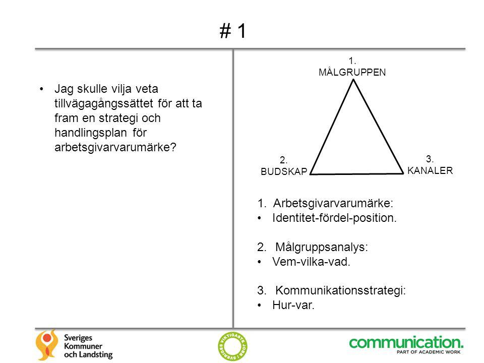 # 1 1. MÅLGRUPPEN. Jag skulle vilja veta tillvägagångssättet för att ta fram en strategi och handlingsplan för arbetsgivarvarumärke