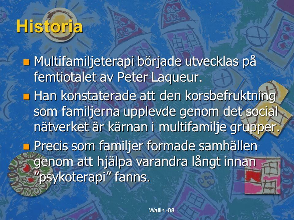 Historia Multifamiljeterapi började utvecklas på femtiotalet av Peter Laqueur.