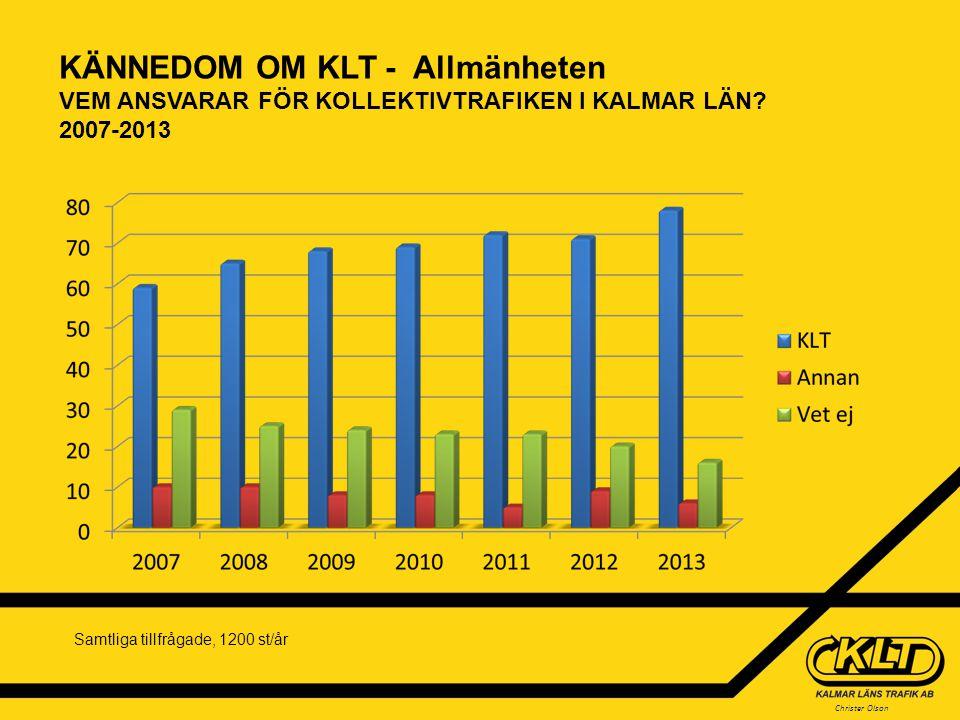 KÄNNEDOM OM KLT - Allmänheten VEM ANSVARAR FÖR KOLLEKTIVTRAFIKEN I KALMAR LÄN 2007-2013