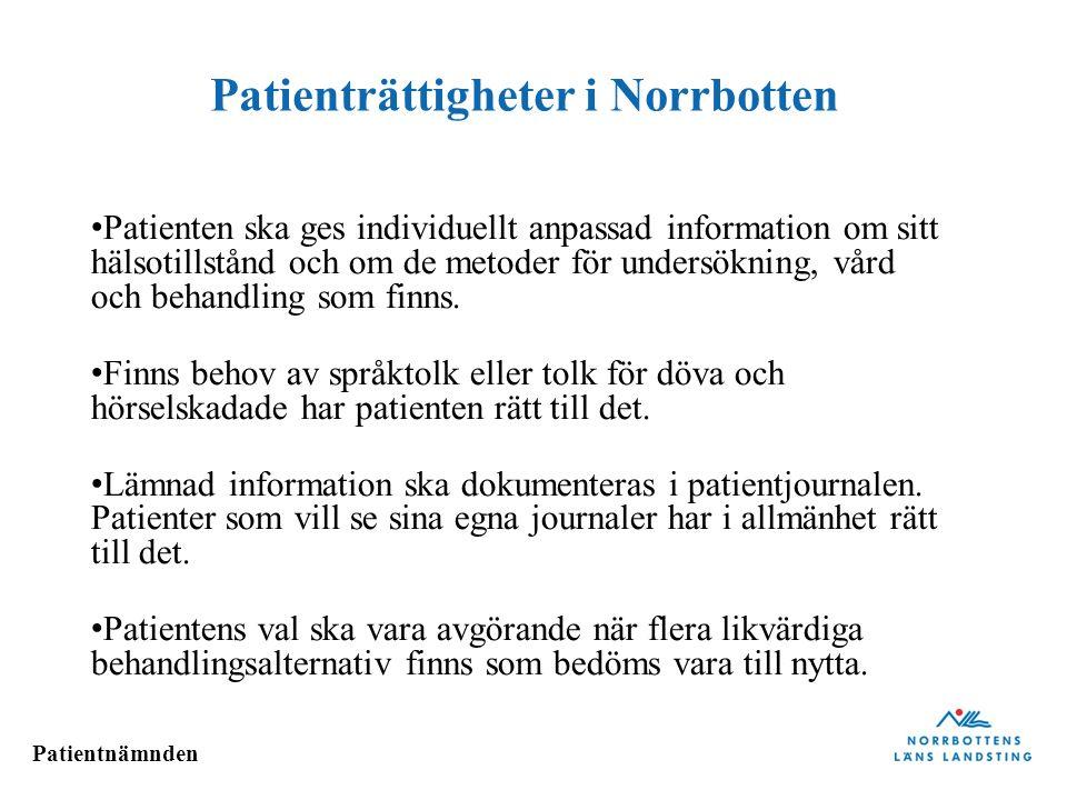 Patienträttigheter i Norrbotten
