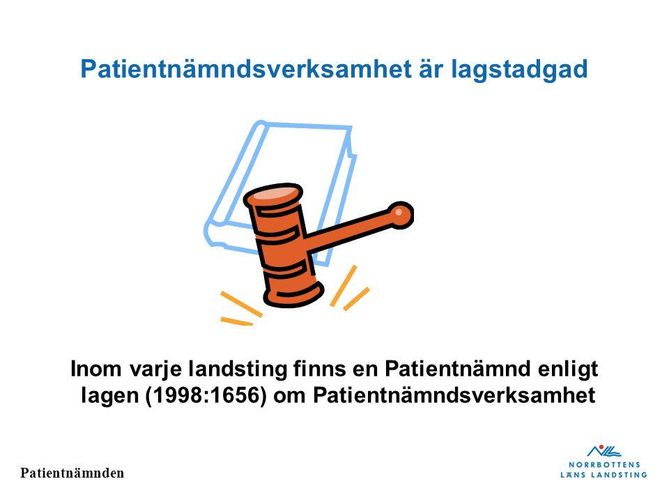 Patientnämndsverksamhet är lagstadgad