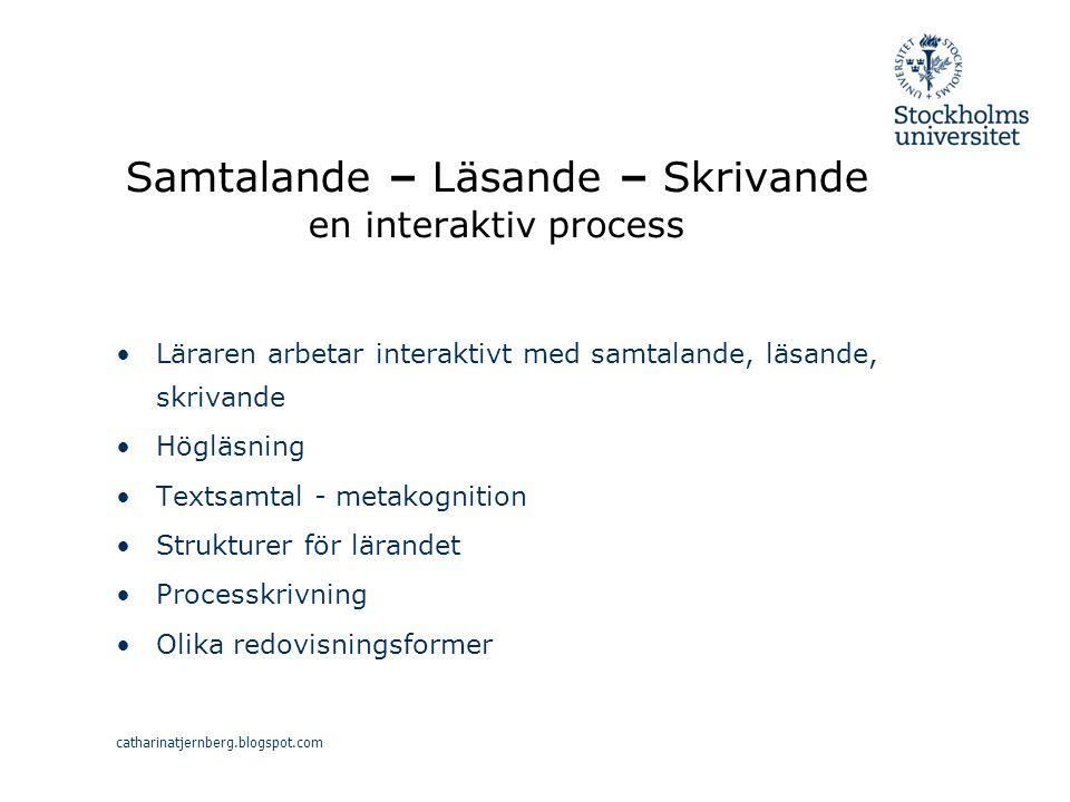 Samtalande – Läsande – Skrivande en interaktiv process