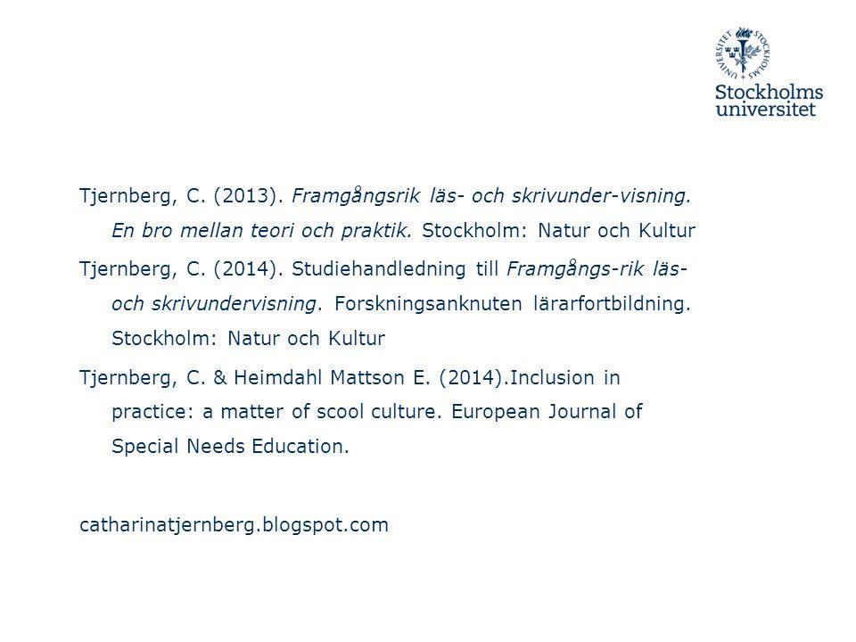 Tjernberg, C. (2013). Framgångsrik läs- och skrivunder-visning