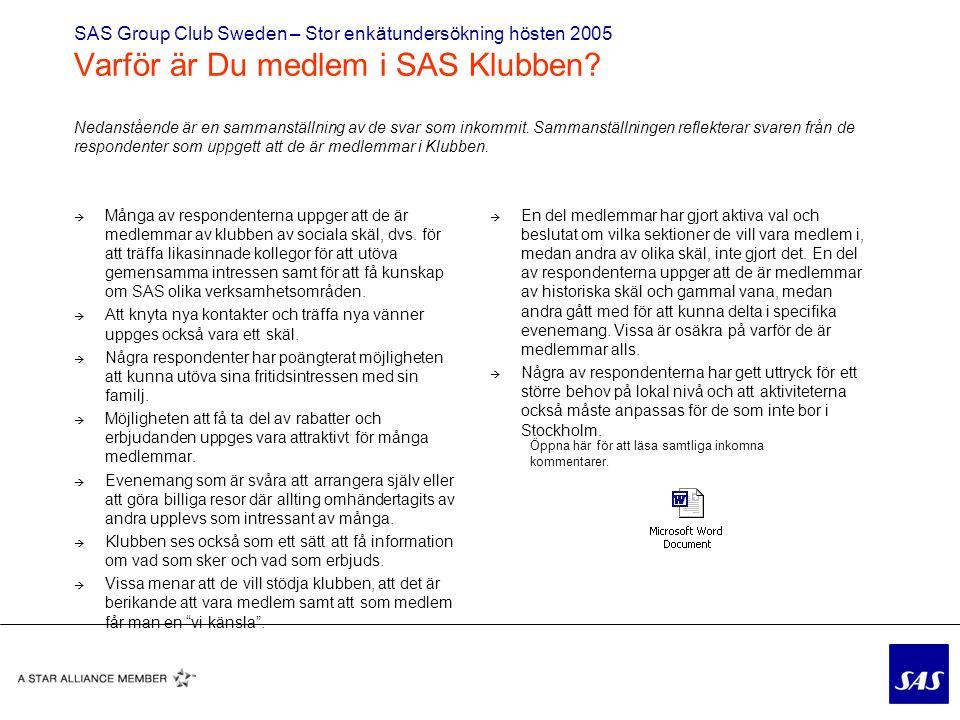 SAS Group Club Sweden – Stor enkätundersökning hösten 2005 Varför är Du medlem i SAS Klubben