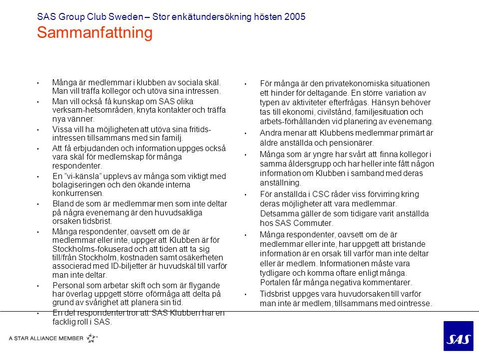 SAS Group Club Sweden – Stor enkätundersökning hösten 2005 Sammanfattning