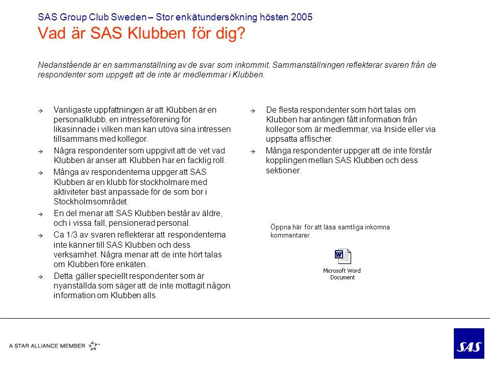 SAS Group Club Sweden – Stor enkätundersökning hösten 2005 Vad är SAS Klubben för dig