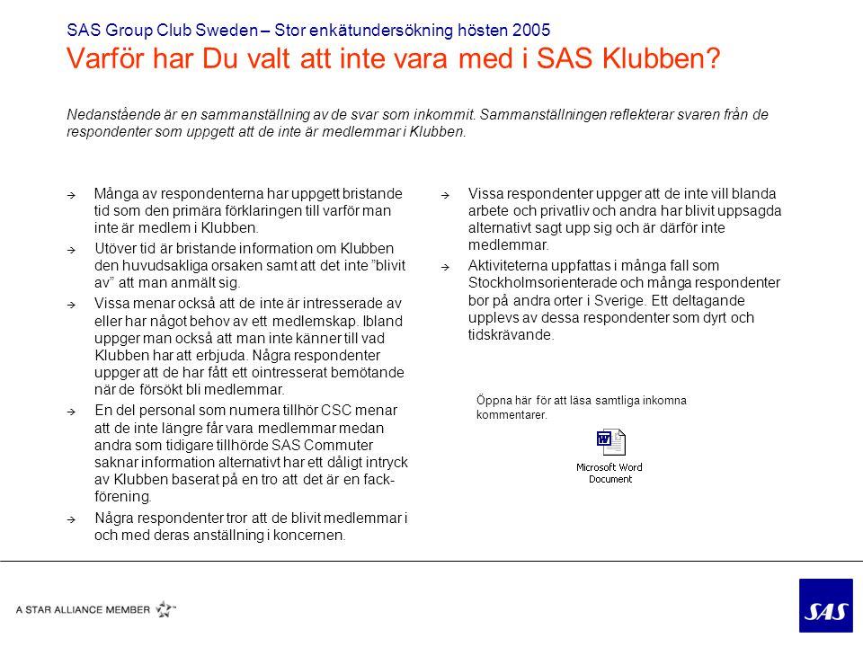 SAS Group Club Sweden – Stor enkätundersökning hösten 2005 Varför har Du valt att inte vara med i SAS Klubben