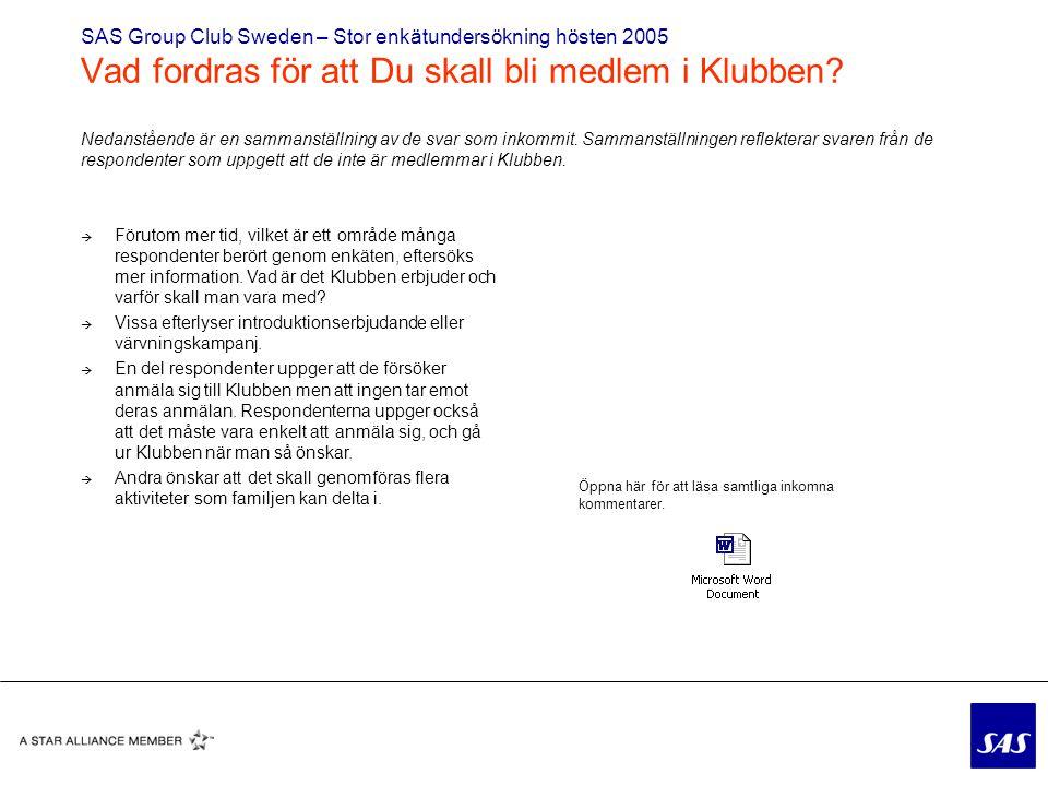 SAS Group Club Sweden – Stor enkätundersökning hösten 2005 Vad fordras för att Du skall bli medlem i Klubben
