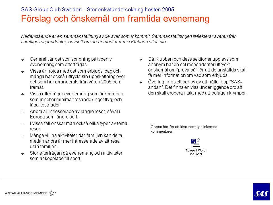 SAS Group Club Sweden – Stor enkätundersökning hösten 2005 Förslag och önskemål om framtida evenemang