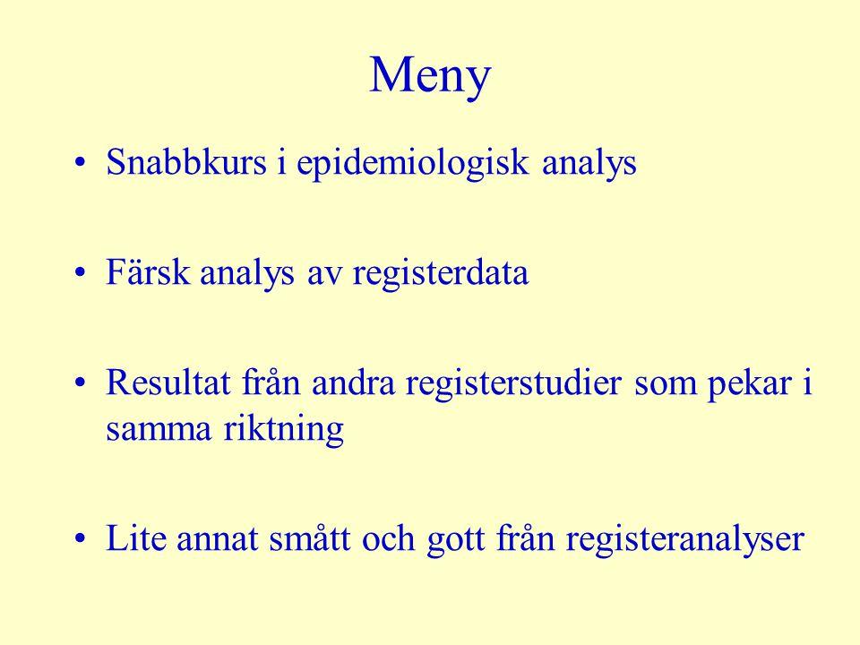 Meny Snabbkurs i epidemiologisk analys Färsk analys av registerdata