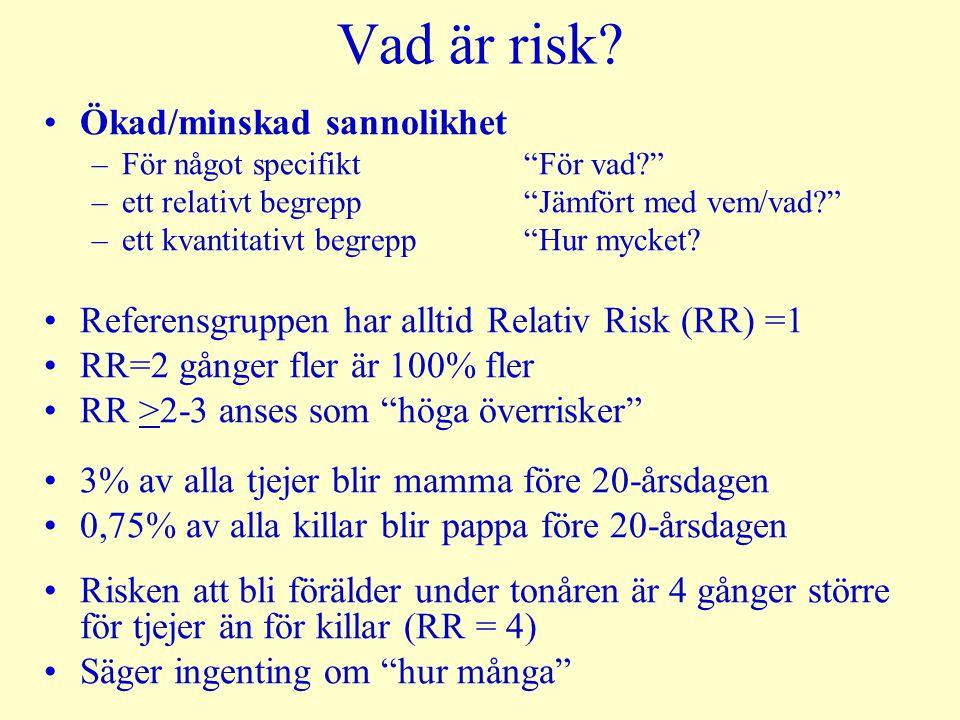 Vad är risk Ökad/minskad sannolikhet