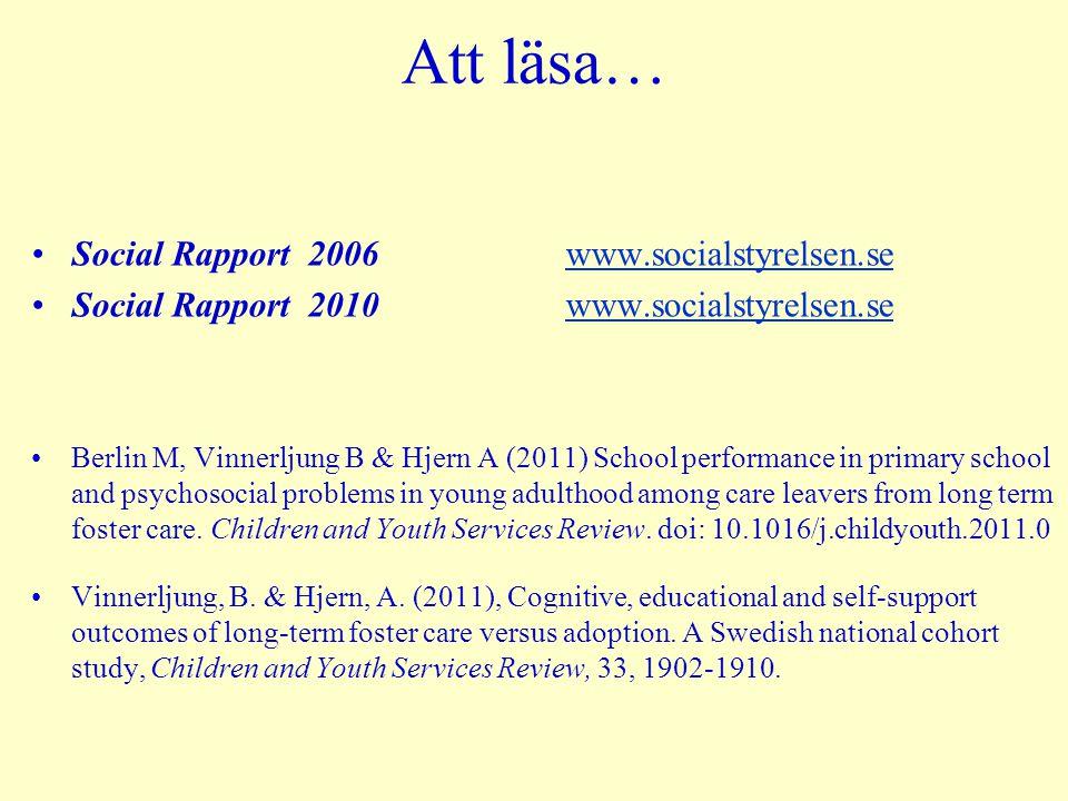 Att läsa… Social Rapport 2006 www.socialstyrelsen.se