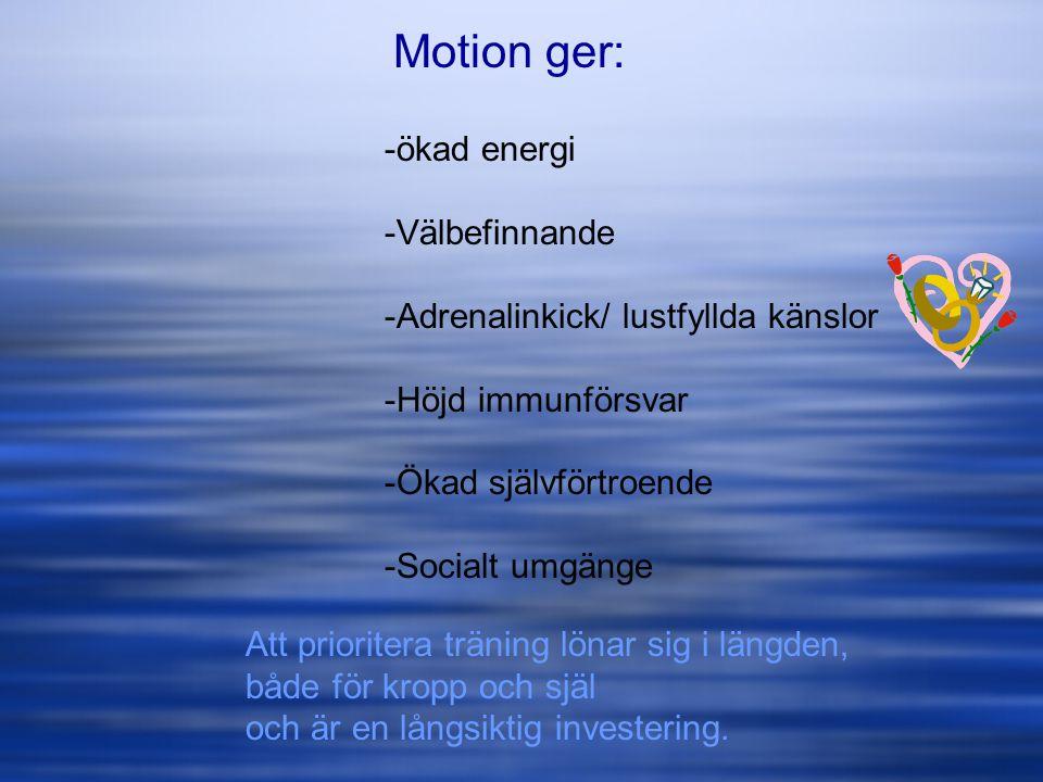 Motion ger: ökad energi Välbefinnande
