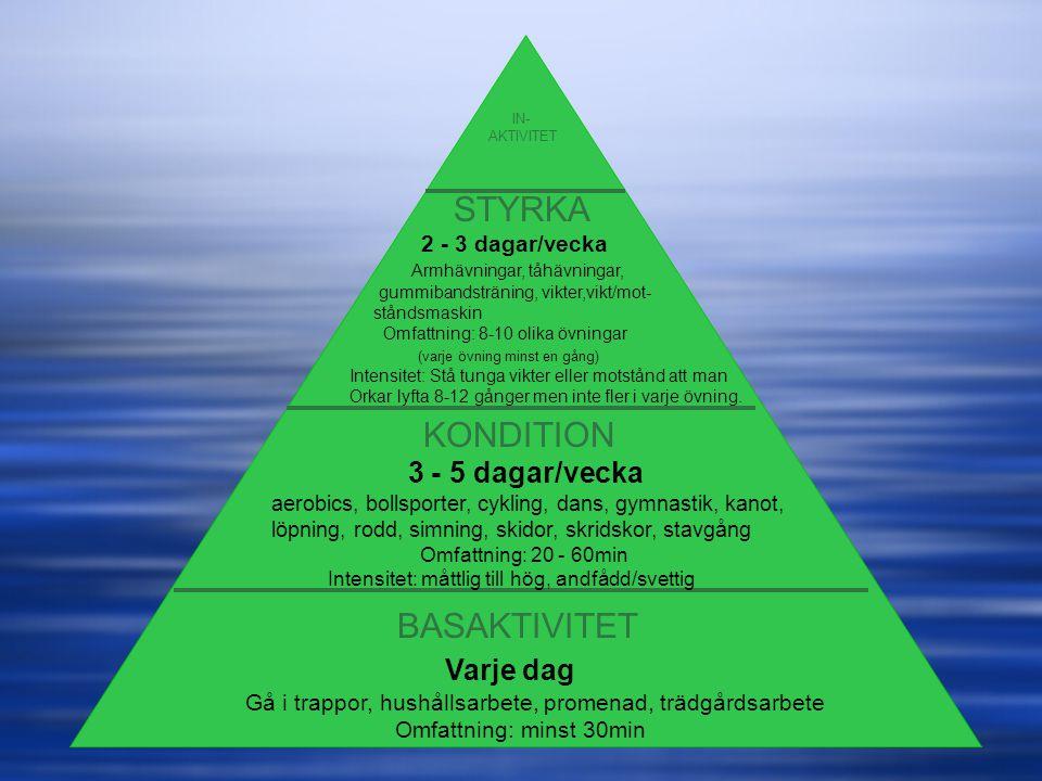 STYRKA KONDITION BASAKTIVITET Varje dag 3 - 5 dagar/vecka