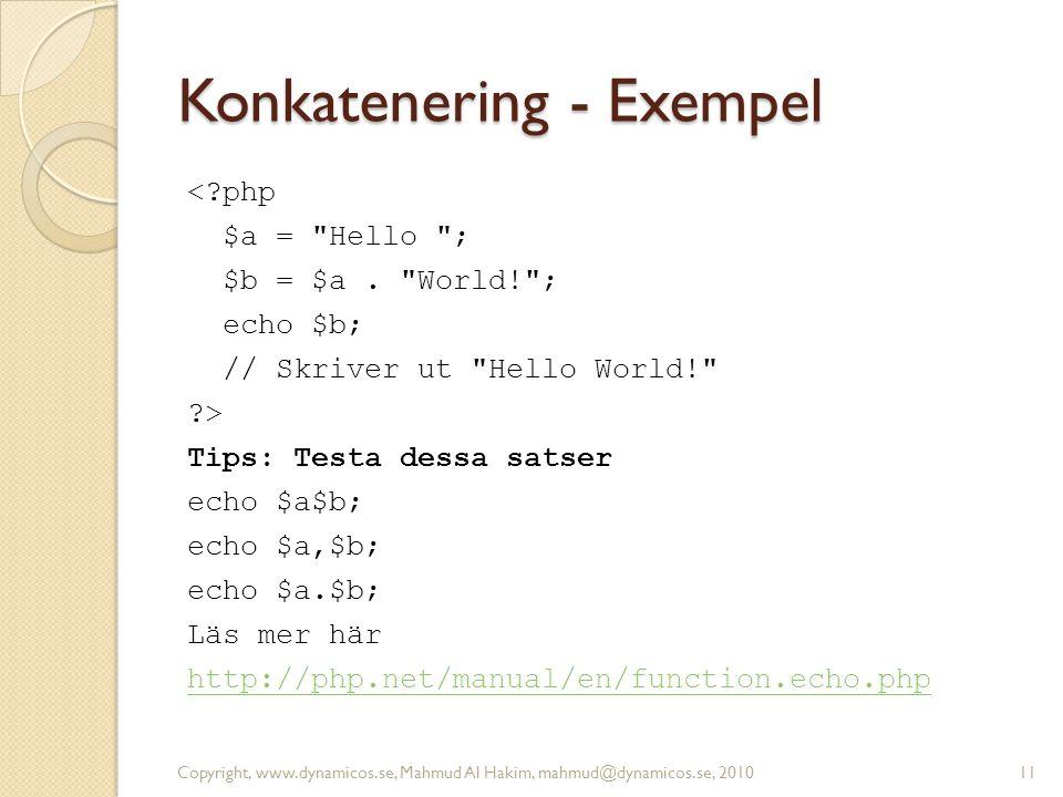 Konkatenering - Exempel