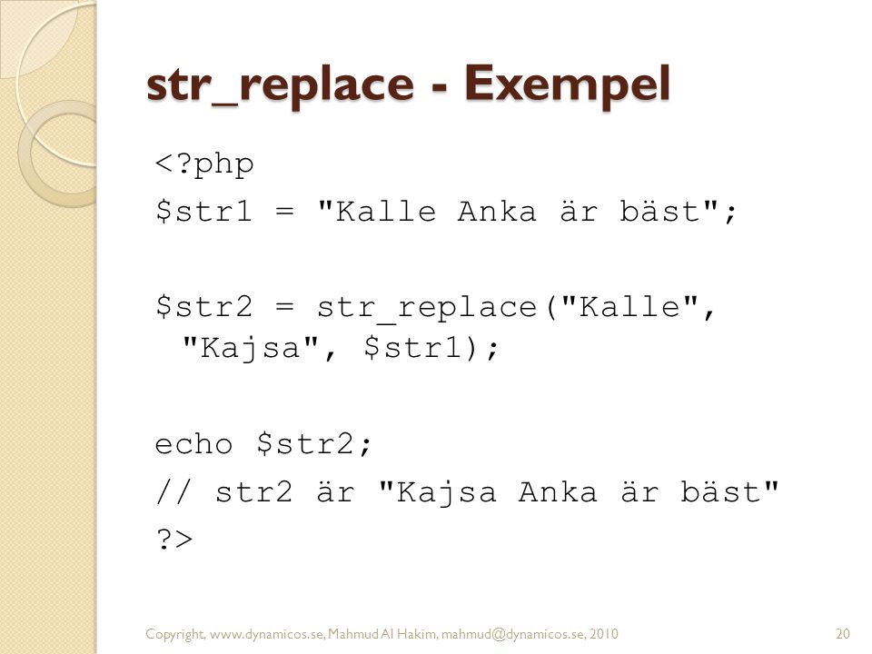 str_replace - Exempel