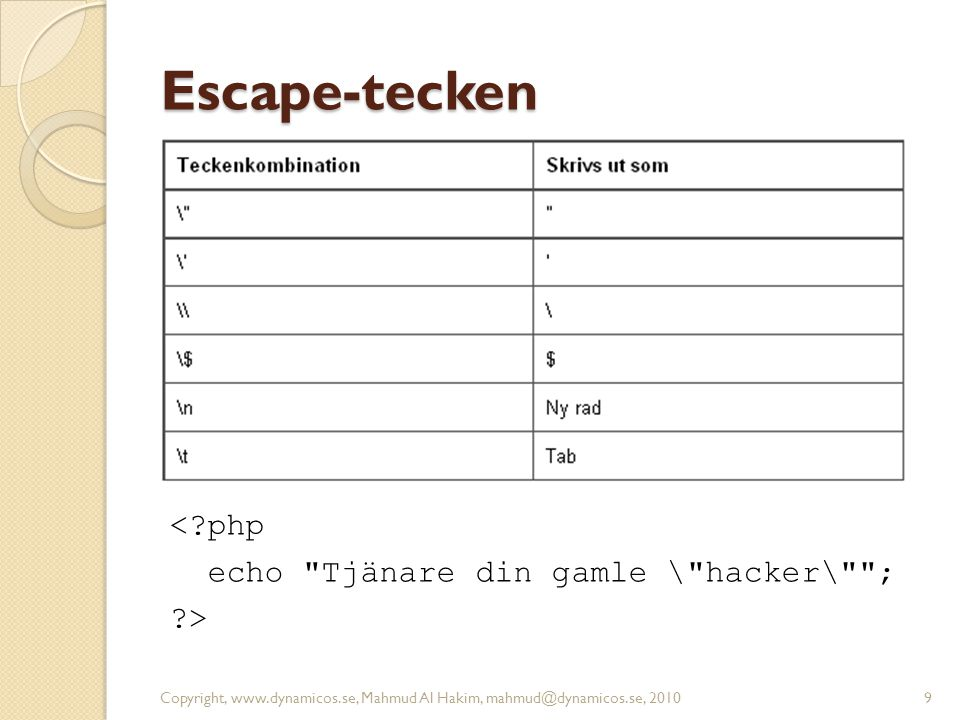 Escape-tecken < php echo Tjänare din gamle \ hacker\ ; >