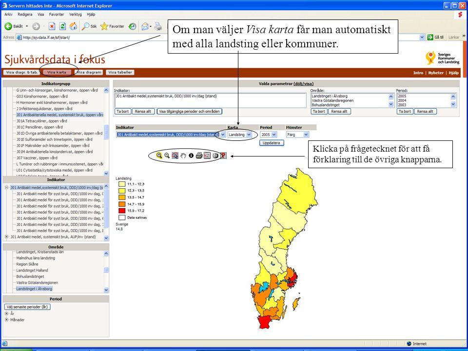 Om man väljer Visa karta får man automatiskt med alla landsting eller kommuner.