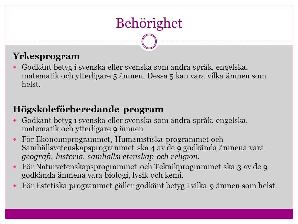 Behörighet Yrkesprogram Högskoleförberedande program