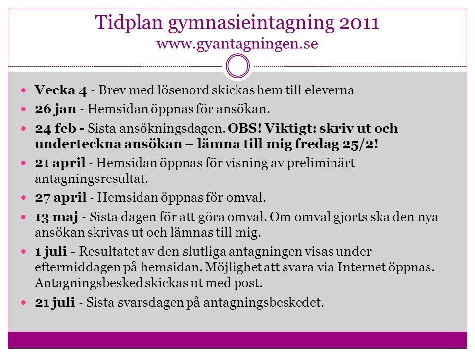Tidplan gymnasieintagning 2011 www.gyantagningen.se