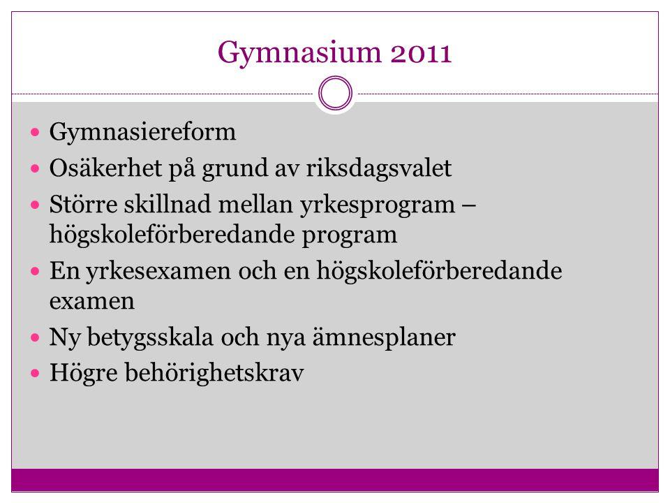 Gymnasium 2011 Gymnasiereform Osäkerhet på grund av riksdagsvalet