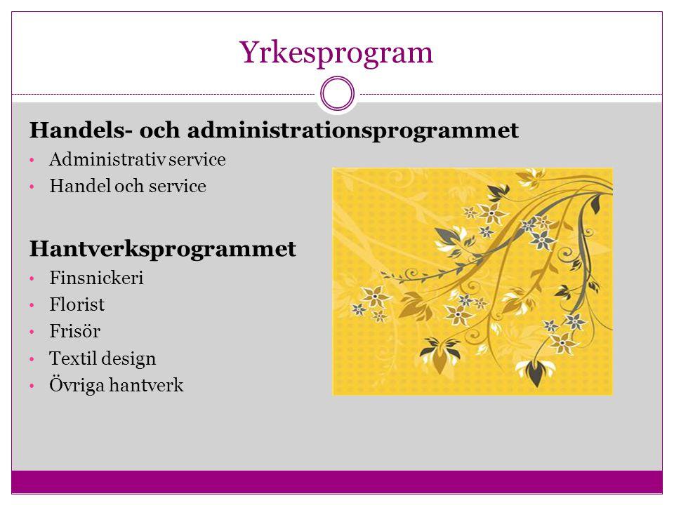 Yrkesprogram Handels- och administrationsprogrammet