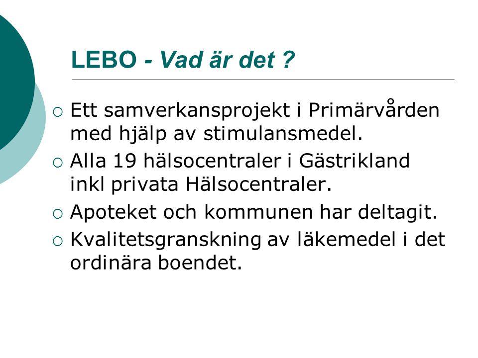 LEBO - Vad är det Ett samverkansprojekt i Primärvården med hjälp av stimulansmedel.