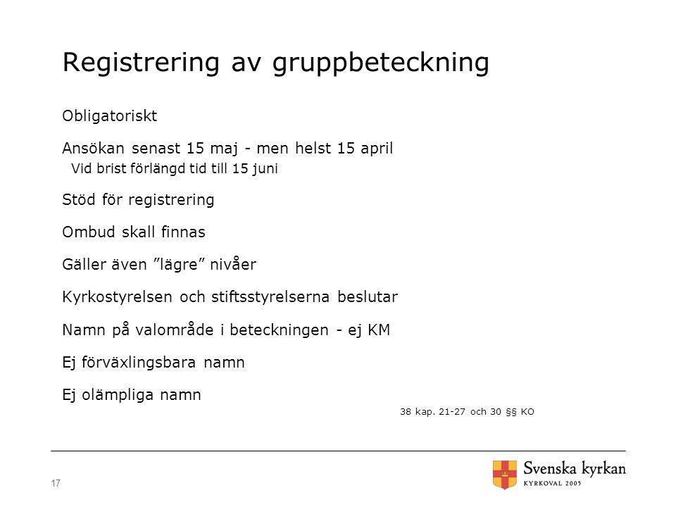 Registrering av gruppbeteckning