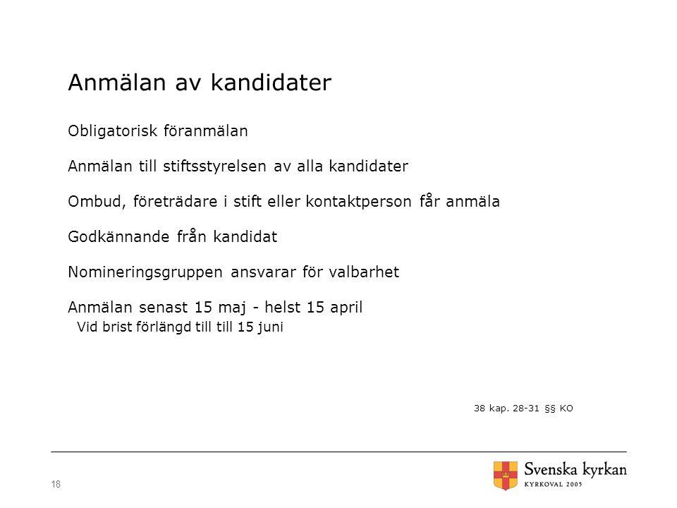 Anmälan av kandidater Obligatorisk föranmälan
