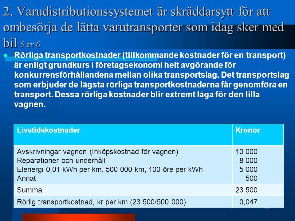 2. Varudistributionssystemet är skräddarsytt för att ombesörja de lätta varutransporter som idag sker med bil 5 av 6