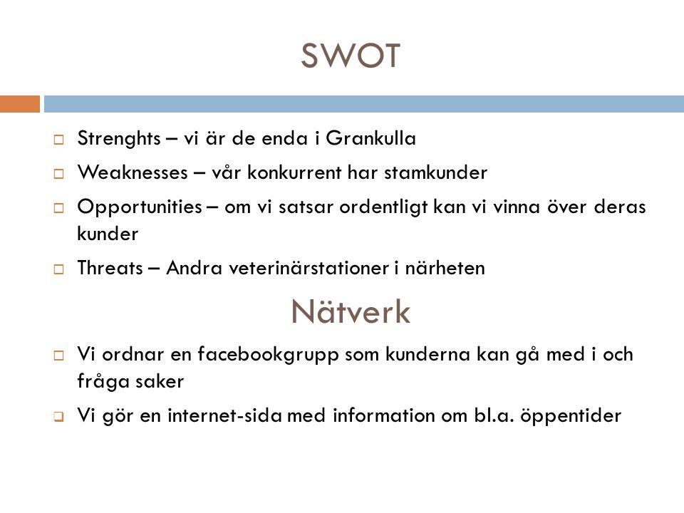 SWOT Nätverk Strenghts – vi är de enda i Grankulla