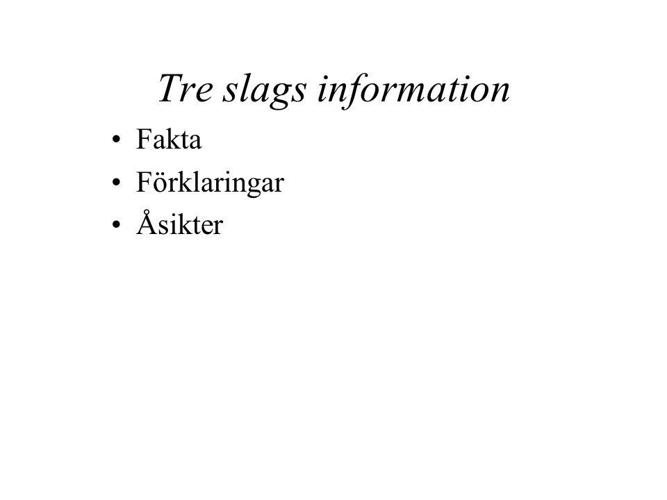 Tre slags information Fakta Förklaringar Åsikter