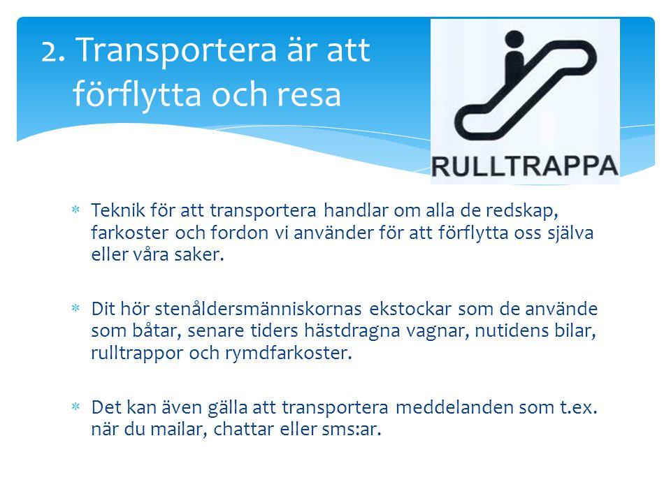 2. Transportera är att förflytta och resa