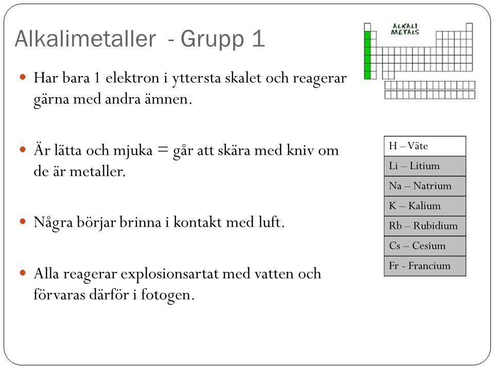Alkalimetaller - Grupp 1