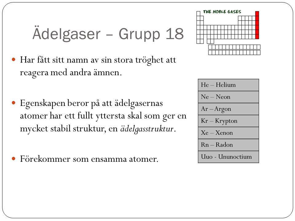 Ädelgaser – Grupp 18 Har fått sitt namn av sin stora tröghet att reagera med andra ämnen.